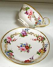 Attributed to Swansea a tea cup and saucer, possibly painted by David Evans