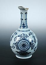 An early George III English Delft blue and white bottle vase, possibly London,
