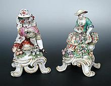 A pair of Bow figures representing Summer and Winter,