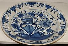 An 18th century Delft blue and white dish, possibly Bristol,