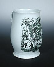 Attributed to Longton Hall, an armorial printed mug,