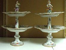 A pair of late 19th century Dresden two tier comports,