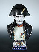 A late 19th/early 20th century French faience bust of Napoleon