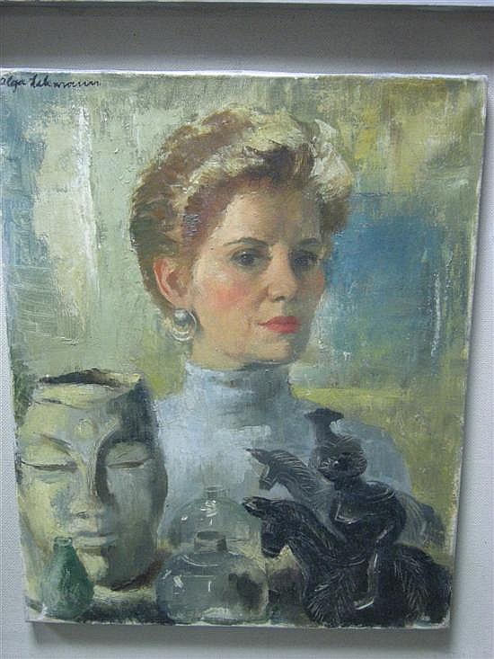Olga Lehmann (British, 1912-2001) Self-Portrait of the Artist signed upper left