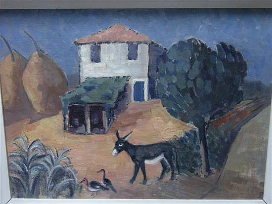 Barbara Greg (British, 1900-1983) Mediterranean Scene with Donkey and Ducks signed lower right with initials