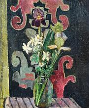 § Vanessa Bell (British, 1879-1961) - White Columbine and an embroidered screen
