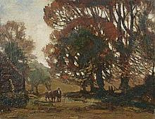 """§ Herbert Royle (British, 1870-1958) A Horseman with a heavy horse returning home at sunset signed lower right """"H Royle"""""""