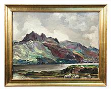 § Sir Francis Cook, Bt., ARBA, FRSA (British, 1907-1978) View of Ben Slioch, Loch Maree, Scotland inscribed and dated July 1937 on t...