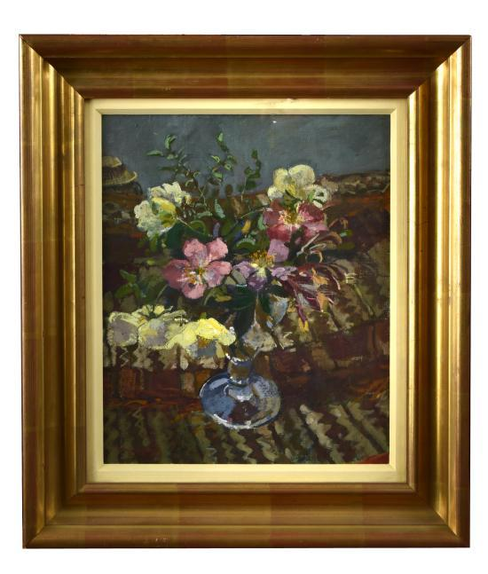 § Mary Jackson, NEAC (British, b. 1936) Still life of flowers in a glass jar signed lower left