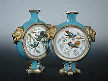 A pair of mid Victorian Derby Crown Porcelain moon flasks