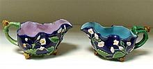 Two Minton majolica sauce boats, date codes for 1856 and 1865,