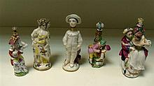 Five German 'Chelsea' miniature scent bottle groups and four stoppers,
