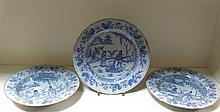 Three mid 18th century Bristol Delft blue and white plates,