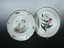 A Nantgarw plate and a Swansea botanical pearlware plate,