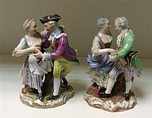 A pair of 20th century Meissen groups of dancers,
