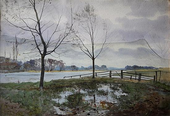 Attributed to John Moyer Heathcote - On the Ouse - watercolour