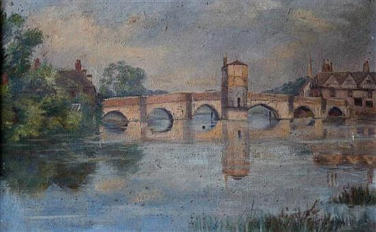 Jessie Madeleine Birt-Ulph (British, 19th Century) St Ives Bridge, Huntingdon 25 x 39.5 cm St Ives Bridge 24 x 31 cm Houghton Mill 1...