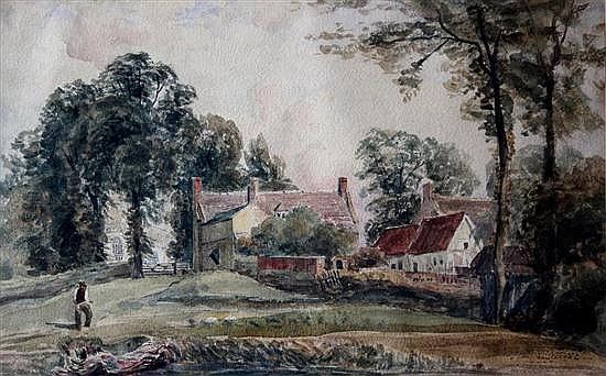 John Moyer Heathcote (British, 1800-1890)  - Buildings by Glatton Church, Peterborough - watercolour