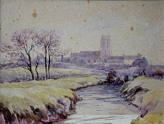 Attributed to J Arthur Poulter (British, 1825-1921 - Bury, Huntingdonshire watercolour