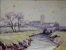 Attributed to J Arthur Poulter (British, 1825-1921 - Bury, Huntingdonshire watercolour