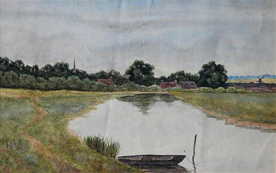 F M F (British, early 20th Century) The Great Ouse near Hemingford Abbots, Huntingdon. Is this FG Fraser under another name?