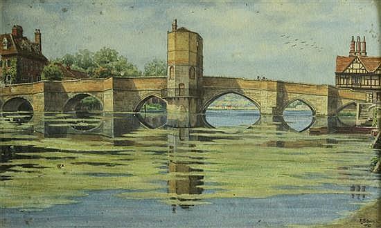 F L Brown (British, 19th-20th Century) St Ives Bridge, Huntingdon