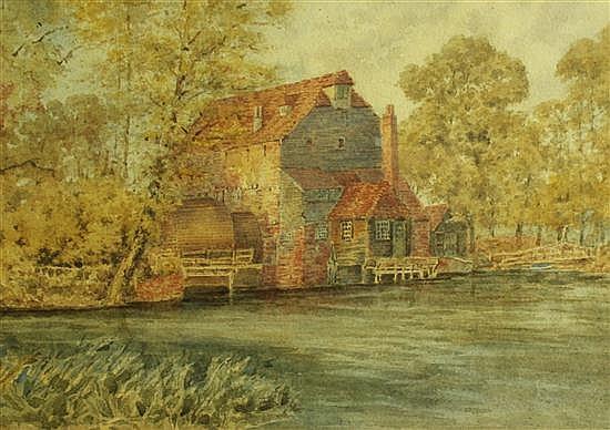 English School - Hemingford Mill - watercolour