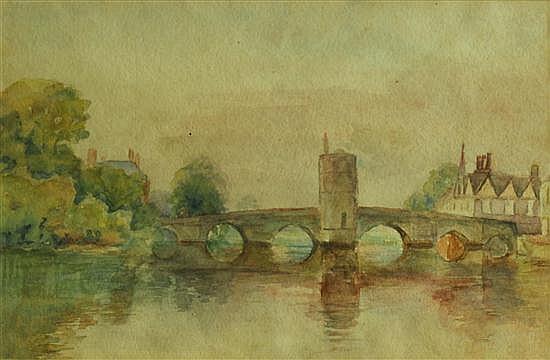 English School (19th Century) - St Ives Bridge  - watercolour