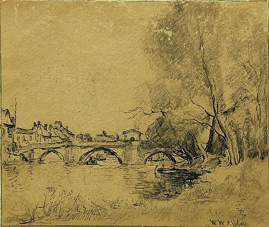 William Watt Milne (British, 1865-19490 - St Ives Bridge - pen and ink