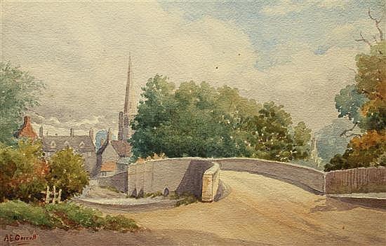 A E Garrett (British, 19th Century) - Harrold Bridge, Bedfordshire