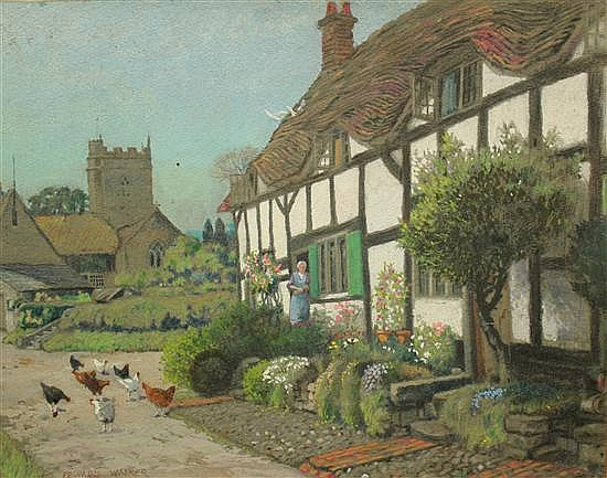 Edward Walker (British, 1879-1955) Cottages signed bottom left