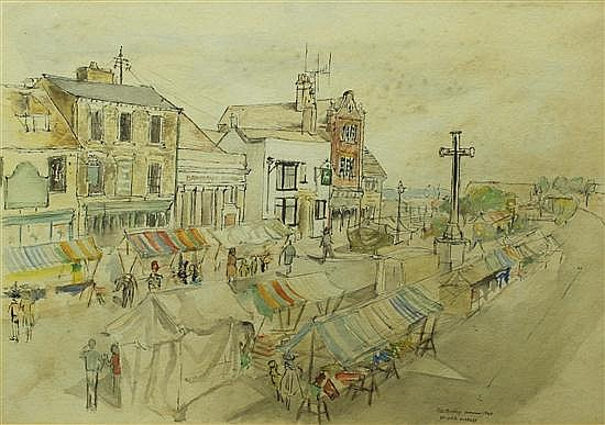 Peter Bradley (British, 20th Century) - St Ives Market  - watercolour
