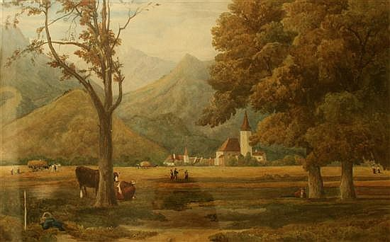 After John Moyer Heathcote (Senior) Swiss pastoral scene unsigned