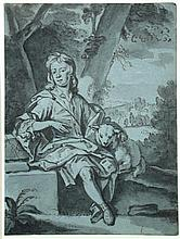Edward Byng (British, born circa 1676-1753) A young man with a lamb in an Arcadian landscape