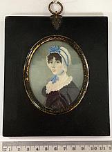 Joseph Bowring (British, born c. 1760, d. after 1817) - Portrait miniature of a lady wearing a blue dress and a ribbon tied bonnet mon.