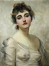 Charles Chaplin (French, 1825-1891)  - Portrait of a lady in a grey dress signed lower right