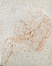 Andrea Sacchi (Italian, 1599-1661), Seated Ignudo, red and white chalk