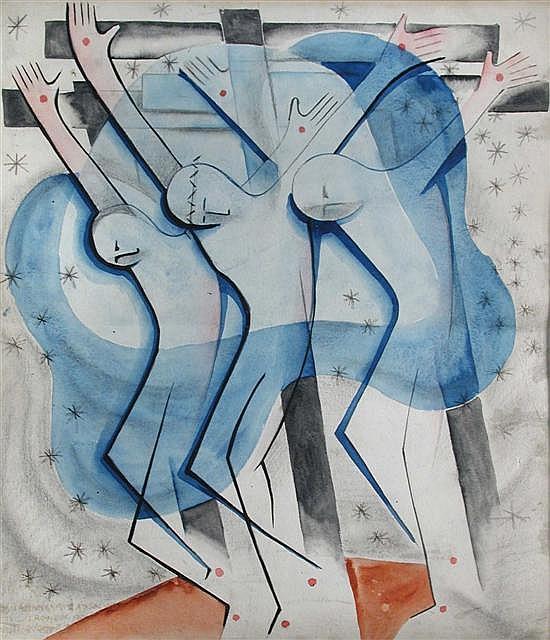 Geoffrey Houghton Brown - Three Crosses, 1930 - watercolour