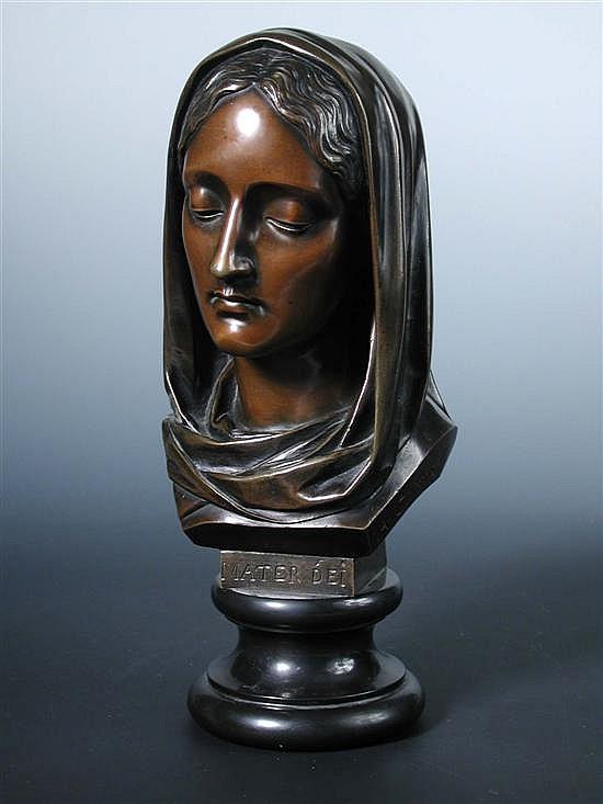 Celestin Anatole Calmels (1822-1906), 'Mater Dei', a bronze head,