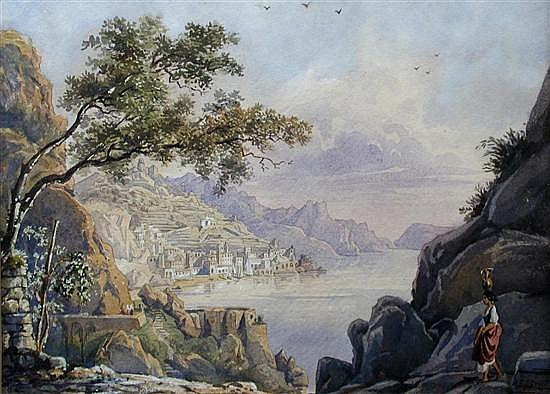 Arthur John Strutt (British, 1819-1888) View of Amalfi, Italy signed on the rock at botto...