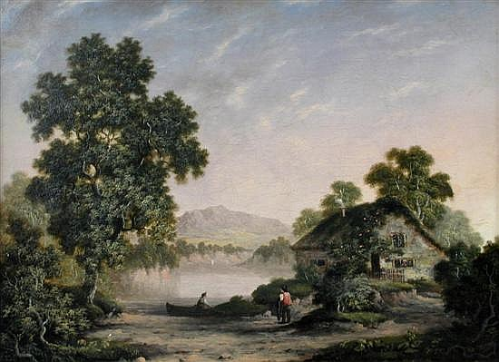 The Reverend Robert Woodley Brown (British, 19th Century) Cottage in a Landscape with Fish...
