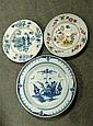 Three mid 18th century English Delft plates,