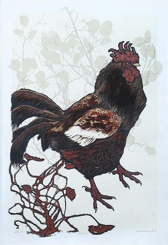 § James Willliamson-Bell (British, b.1938), Cockerel, signed in pencil lower right and numbered 'A.P vi' lower left, screenprint, 56cm.