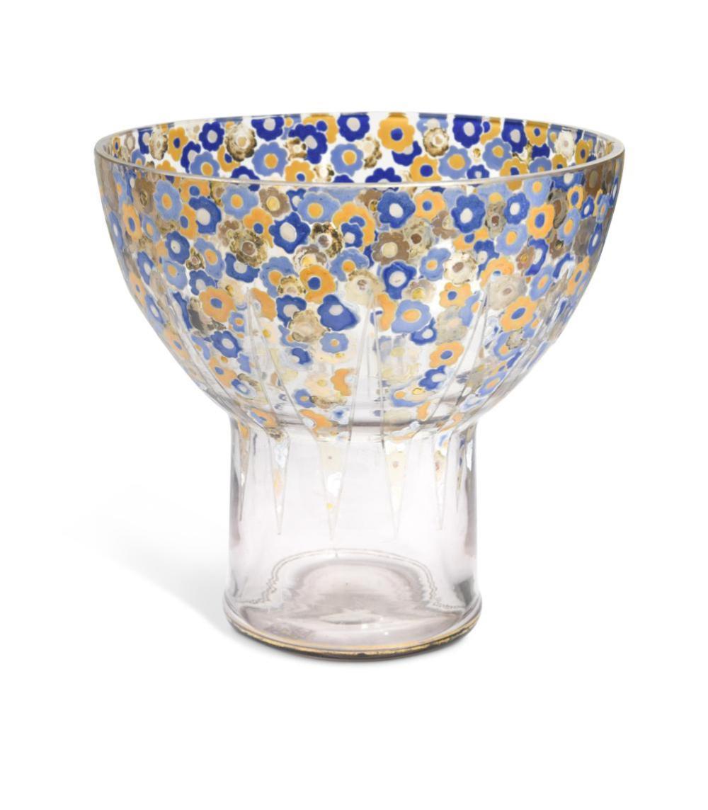 A large Art Deco glass vase,