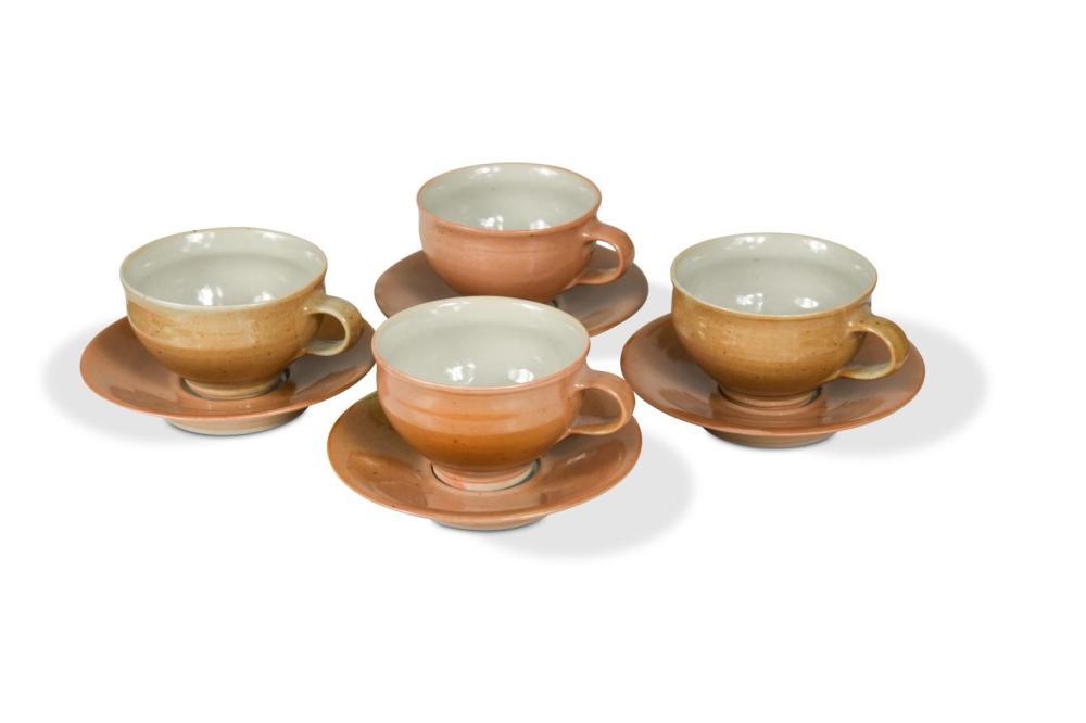 § Gwyn Hanssen Pigott (1935-2013), a set of four porcelain cups and saucers,