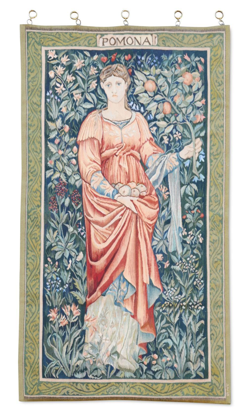 After Burne Jones, Pomona, an Arts & Crafts style needlework hanging, 20th century,