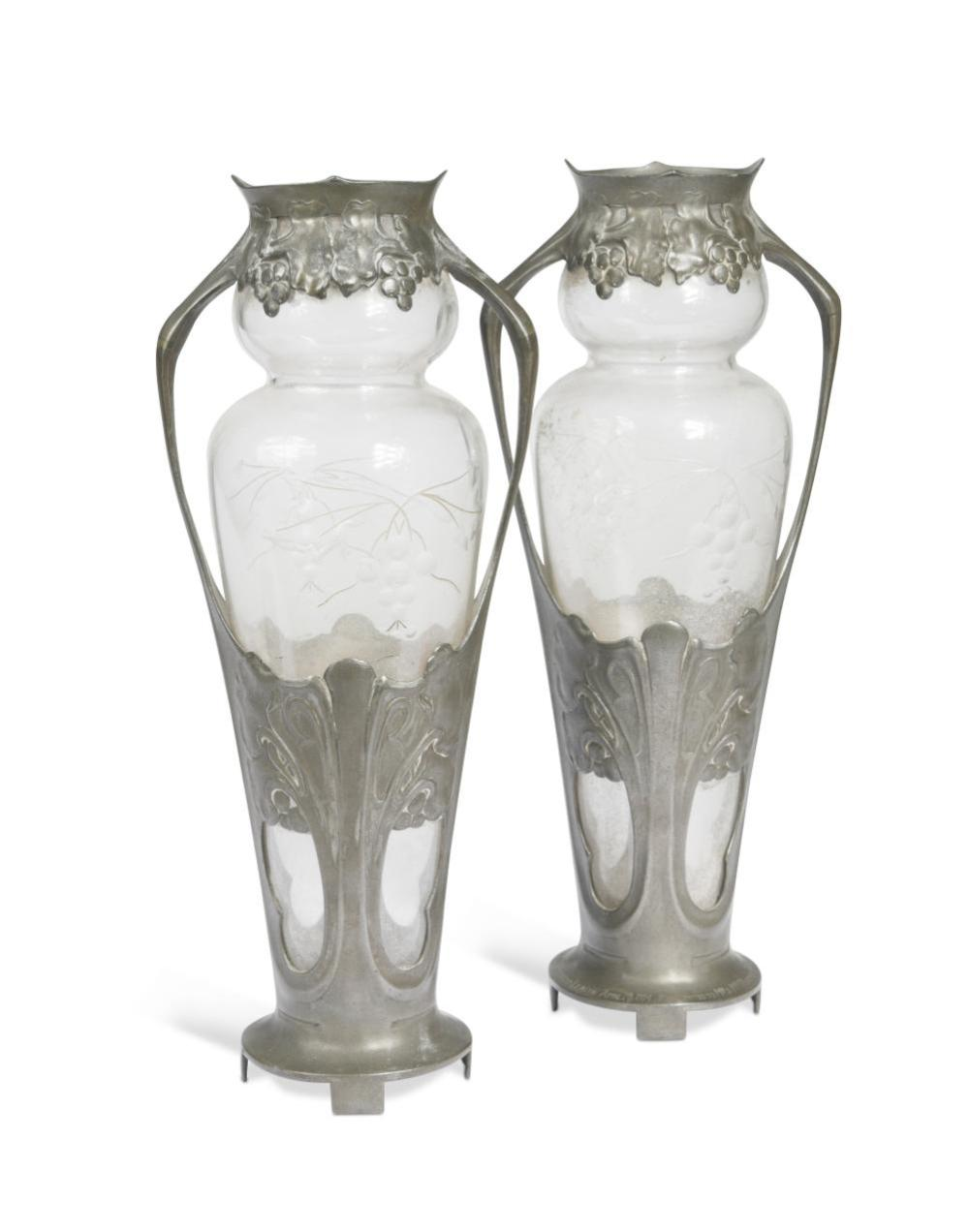 A pair of Art Nouveau Urania pewter mounted glass vases, circa 1900,