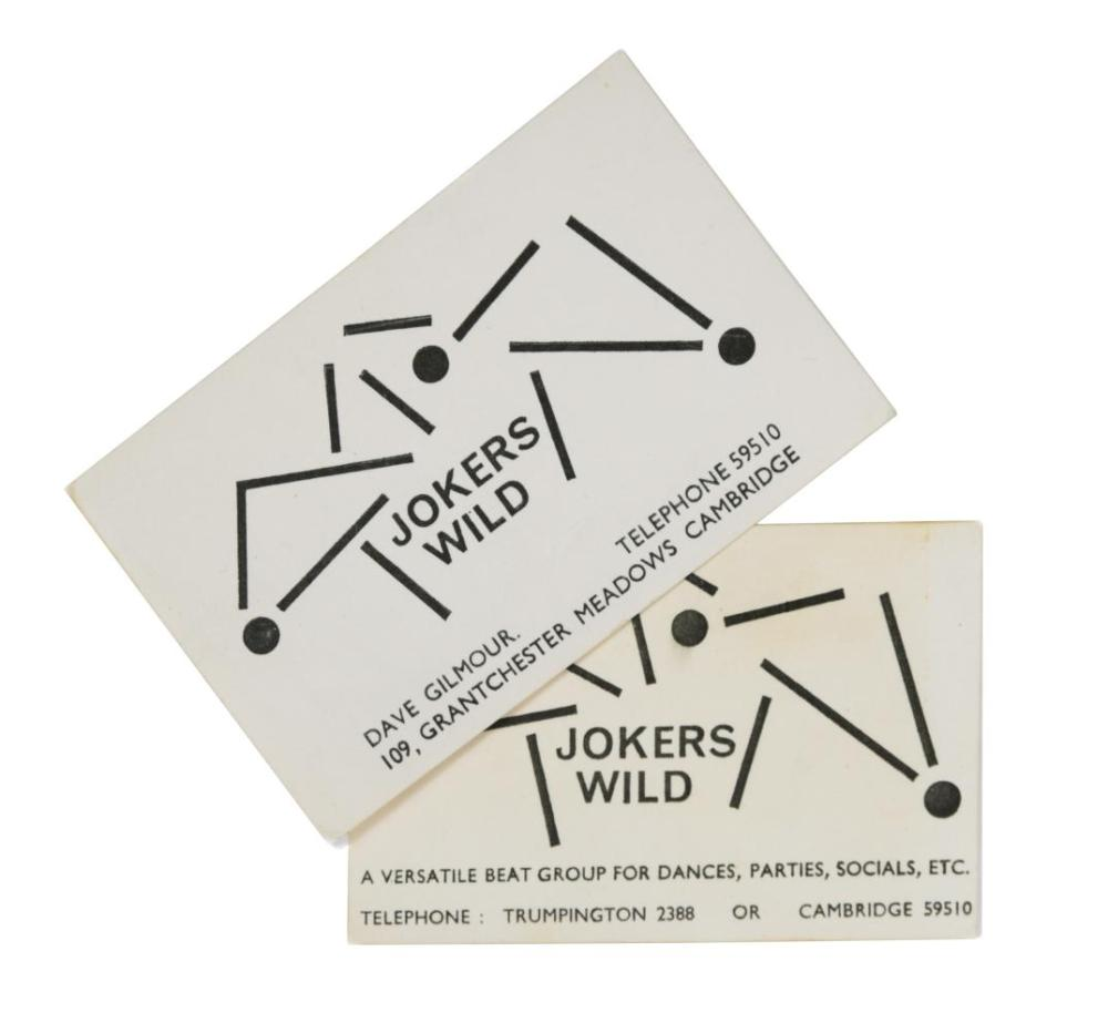 Pink Floyd interest, two 'Jokers Wild' calling cards, circa 1964,