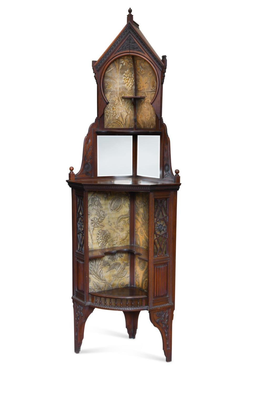 A good Aesthetic movement corner cabinet,