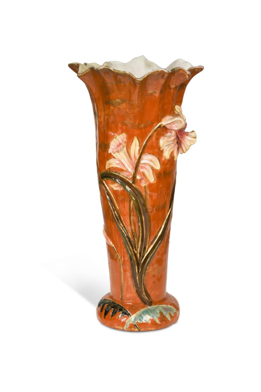 Emile Gallé (French, 1846-1904), an Art Nouveau faience vase,
